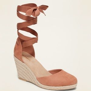 NWOT Faux Suede Lace Up Wedges!